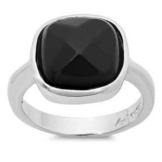 Sterling Essentials Silver Faceted Onyx Ring