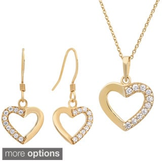 Sterling Essentials Cubic Zirconia Hearts Jewelry Set