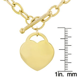 Stainless Steel Heart Charm Toggle Necklace