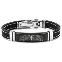 Men's Stainless Steel Lord's Prayer ID Rubber Bracelet