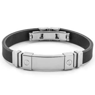 West Coast Jewelry Stainless Steel and Rubber I.D. Plate Bracelet