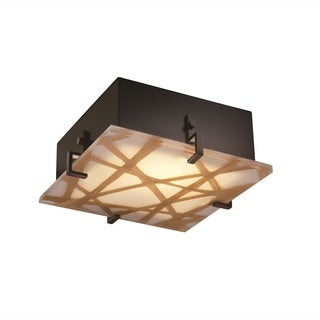 Justice Design 3Form Clips 2-light 12 inch Square Semi-flush Mount