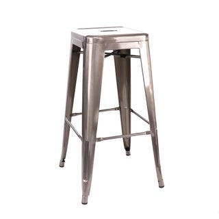 Amalfi Stackable Gunmetal Steel Stackable Barstool (Set of 4)