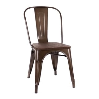 Amalfi Rustic Matte Elm Wood Seat Steel Side Chair (Set of 4)