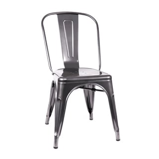 Amalfi Stackable Dark Gunmetal Steel Side Chair (Set of 4)