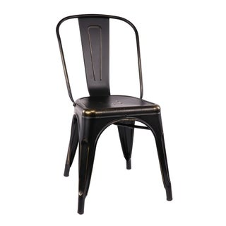 Amalfi Stackable Vintage Matte Black/ Gold Steel Side Chair (Set of 4)