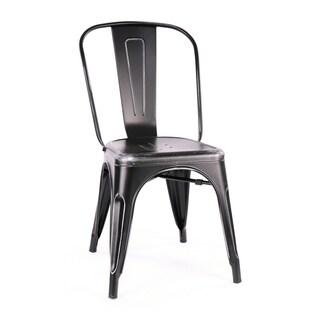 Amalfi Stackable Matte Black/ Silver Steel Side Chair (Set of 4)