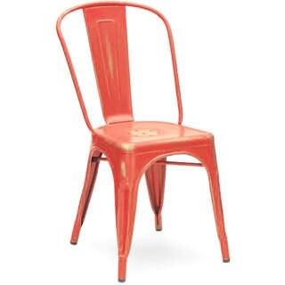 Amalfi Stackable Vintage Matte Red/ Gold Steel Side Chair (Set of 4)