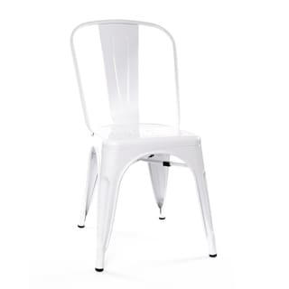 Amalfi Stackable Glossy White Steel Side Chair (Set of 4)