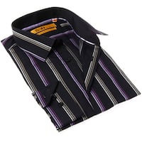 Brio Milano Men's Stripe Black and Purple Button-up Dress Shirt