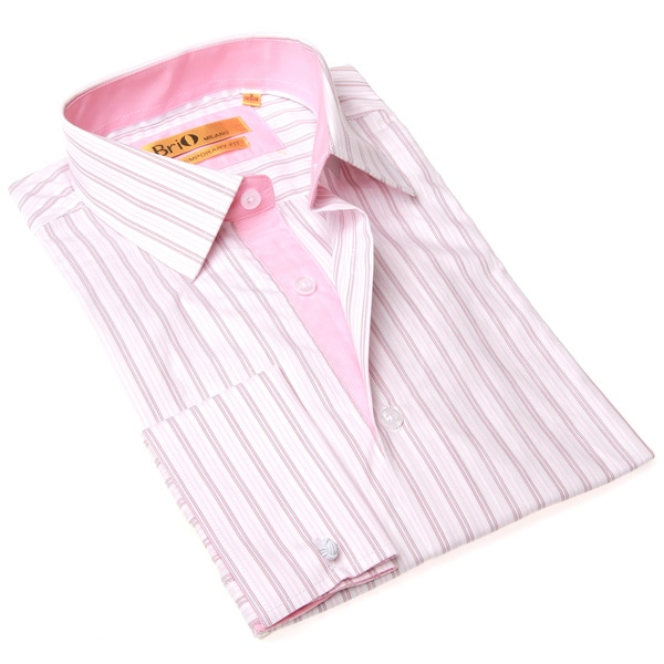 Brio milano men 39 s stripe white and pink button up dress for Mens red and white striped dress shirt