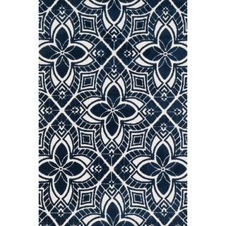 Aaron Ivory/ Navy Arabesque Microfiber Woven Rug (7'6 x 9'6)
