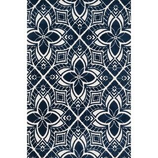 Aaron Ivory/ Navy Arabesque Microfiber Woven Rug (9'3 x 13'0)