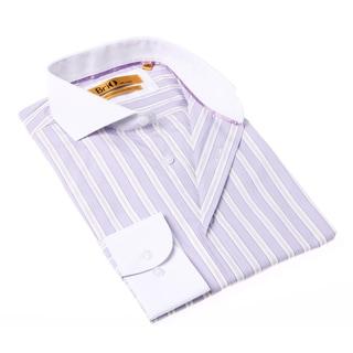 Brio Milano Men's Stripe Purple and White Button-up Dress Shirt
