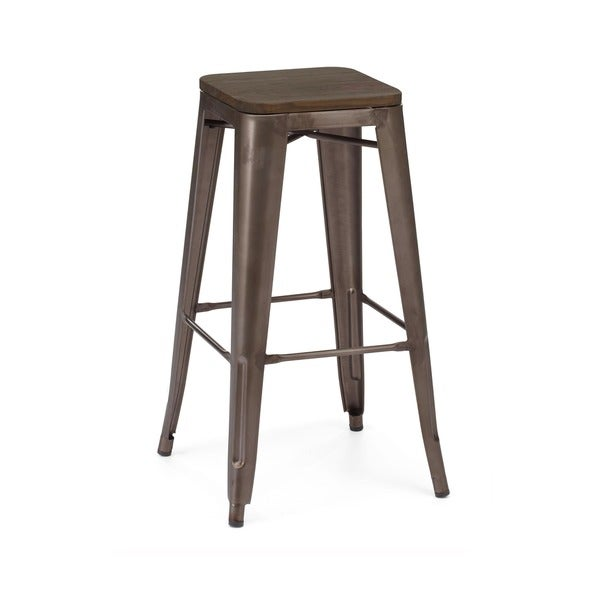 Amalfi Stackable Rustic Matte And Elm Wood Seat Steel Bar