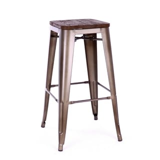 Amalfi Stackable Rustic Matte and Elm Wood Seat Steel Bar Stool (Set of 4)