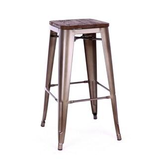 Amalfi Stackable Rustic Matte Elm Wood Steel Barstool (Set of 4) - N/A