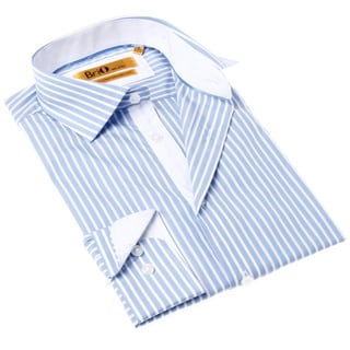 Brio Milano Men's Blue and White Stripe Button-up Shirt