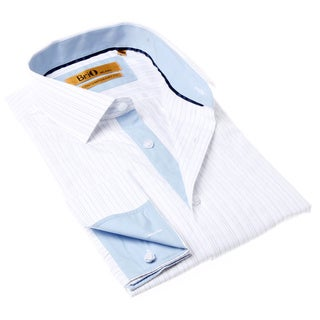 Brio Milano Men's White and Blue Button-up Dress Stripe Shirt