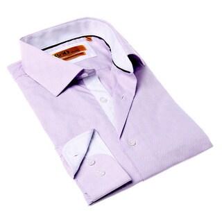 Brio Milano Men's Purple and White Geometric Button-up Dress Shirt