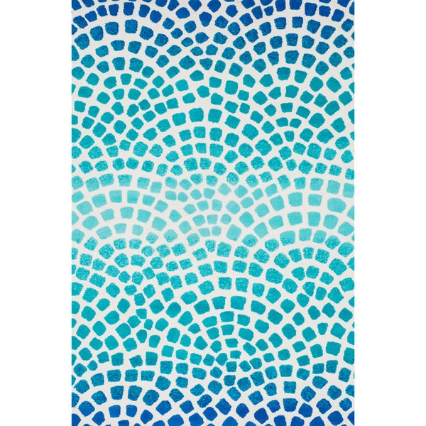 Aaron Aqua Blue Mosaic Microfiber Woven Rug 3 6 X 5 6 Free Shipping Today Overstock Com