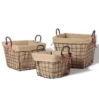 Iron Rectangular Rustic Burlap Lined Baskets (Set of 3)