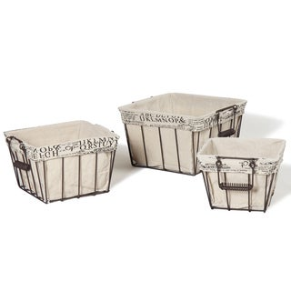 Faux Linen/Newsprint Lined Rectangular Iron Baskets (Set of 3)