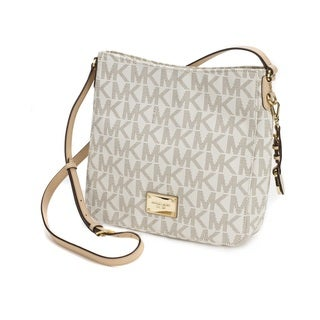 Michael Kors Jet Set Large Travel Vanilla Signature Crossbody Handbag