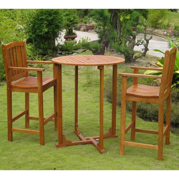 Royal Tahiti Sagunto Balau 3-piece Bar-Height Bistro Set