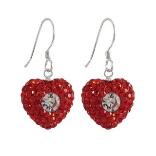 Luxiro Sterling Silver Red and White Crystals Heart French Wire Earrings