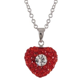 Luxiro Sterling Silver Red and White Crystals Heart Pendant Necklace