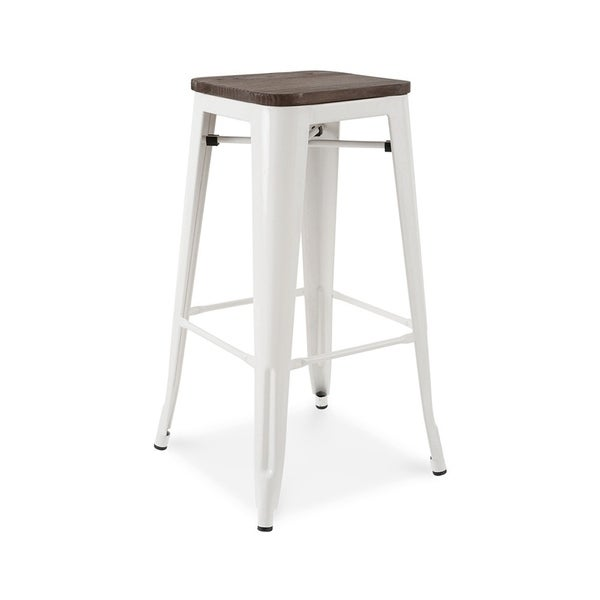 Amalfi Stackable Glossy White Elm Wood Steel Barstool (Set Of 4)   N/