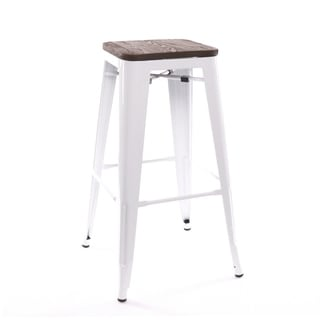 Amalfi Stackable Glossy White Elm Wood Steel Barstool (Set of 4)