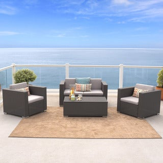 Murano 4 Piece Outdoor Wicker Sofa Set By Christopher Knight Home