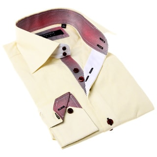 Coogi Luxe Men's Yellow and Red Solid Button-up Dress Shirt