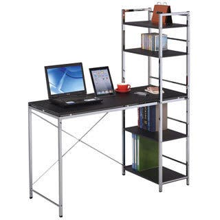 Elvis Black & Chromed Computer Desk with Shelves|https://ak1.ostkcdn.com/images/products/9643590/P16827507.jpg?impolicy=medium