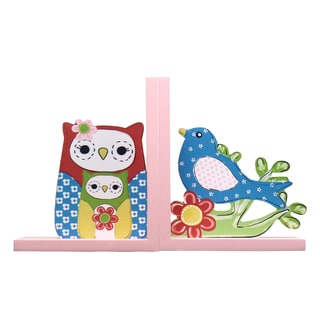 Children's Wood Owl and Bird Bookends