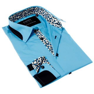 Coogi Luxe Men's Blue and Black Solid Button-up Dress Shirt