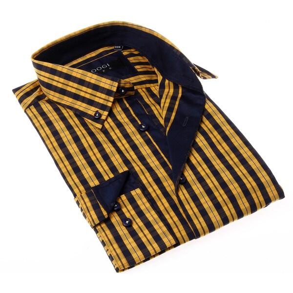 Coogi Luxe Men's Yellow/ Blue Plaid Button-up Dress Shirt ...