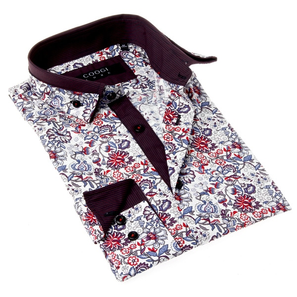 Coogi Luxe Men 39 S White And Red Floral Button Up Dress