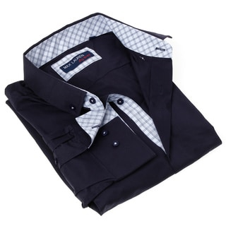 Max Lauren Men's Solid Black/ White Button-up Dress Shirt