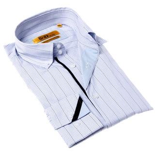 Brio Milano Men's Contemporary Fit Blue/ Black Check Button-up Dress Shirt