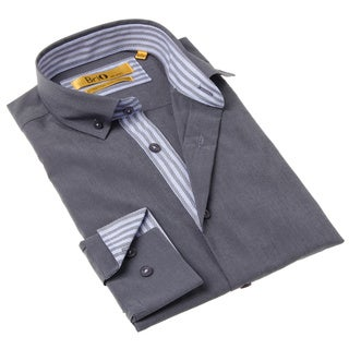 Brio Milano Men's Contemporary Fit Grey and Blue Solid Button-up Dress Shirt