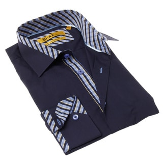 Brio Milano Men's Contemporary Fit Solid Blue Button-up Dress Shirt
