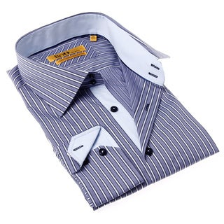Brio Milano Men's Contemporary Fit Grey Stripe Button-up Dress Shirt
