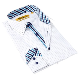 Brio Milano Men's Contemporary Fit White and Blue Stripe Button-up Dress Shirt