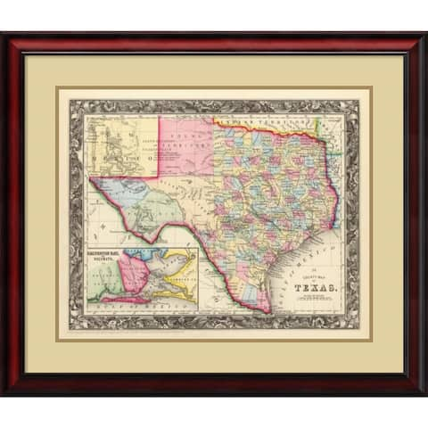 Framed Art Print 'County Map of Texas, 1860' by Samuel Augustus Mitchell 30 x 26-inch