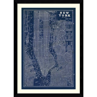 Susan Schlabach 'Blueprint Map New York' Framed Art Print 30 x 42-inch
