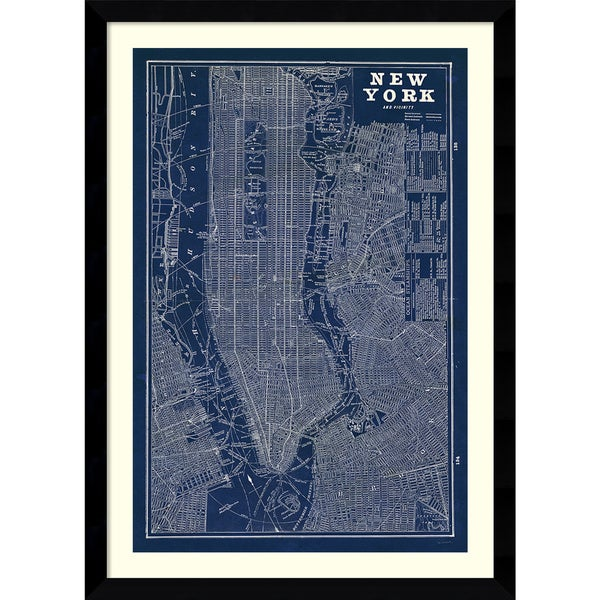 Framed art print blueprint map new york by susan schlabach 31 x framed art print x27blueprint map new yorkx27 by susan malvernweather Image collections