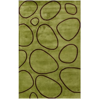 Hand-tufted Illuminating Green and Brown Wool Rug (9'x12')